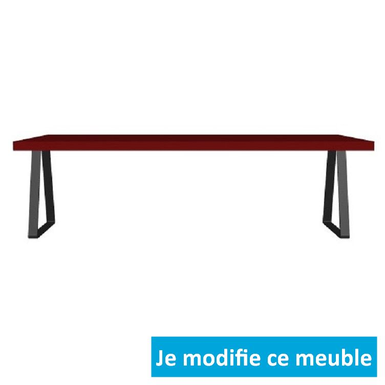Table basse sur-mesure rouge gris large