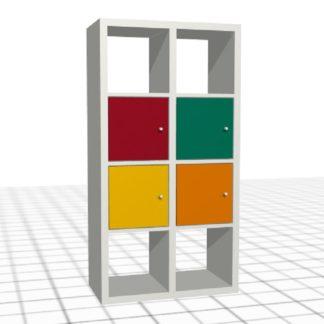 Étagère adaptée blanc rouge vert jaune orange portes