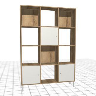Meuble personnalisé à casiers bois blanc portes