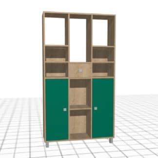 Meuble personnalisé à casiers chêne vert haute rangements