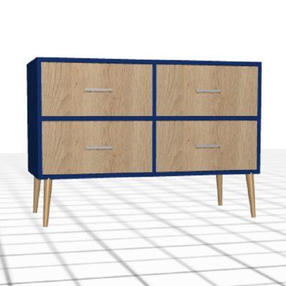 Bahut personnalisé 4 tiroirs bleu chêne