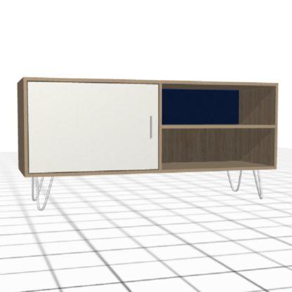 Large meuble à compartiments sur-mesure porte blanc bleu bois