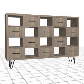 Meuble à compartiments sur-mesure bois tiroirs cases large