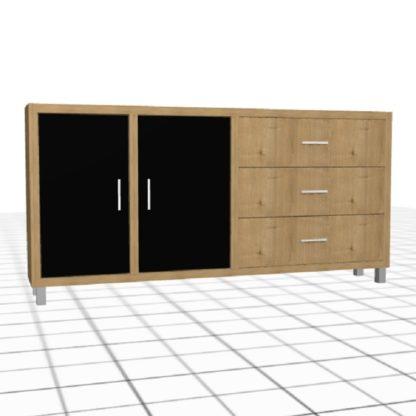 Large enfilade adaptée avec portes et tiroirs