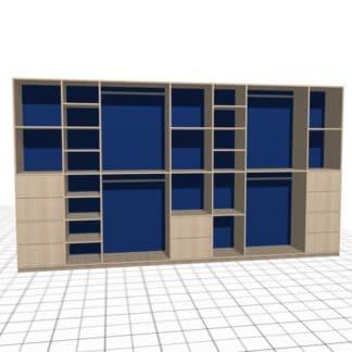 Large penderie adaptée avec niches et tiroirs