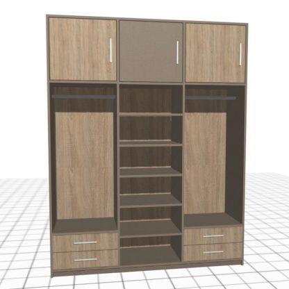 Haute garde-robe adaptée avec casiers et tiroirs