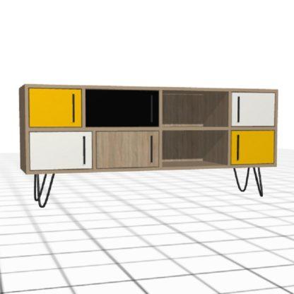 Meuble TV personnalisé portes cases chêne blanc noir jaune