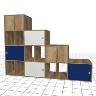 Meuble sous escalier sur-mesure bleu blanc chêne casiers portes