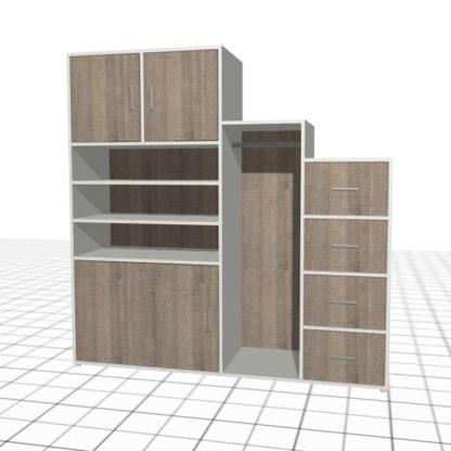 Dressing sous escalier sur-mesure blanc chêne tiroirs portes
