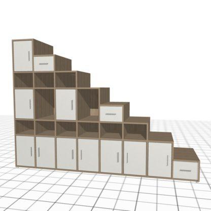 Placard sous escalier sur-mesure bois blanc hauteur 2 mètres