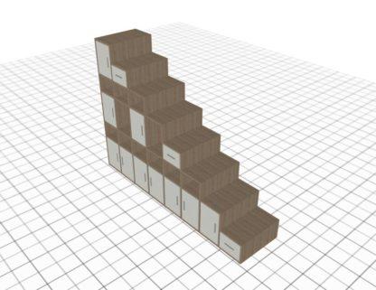 Placard sous escalier adapté bois blanc hauteur 2 mètres