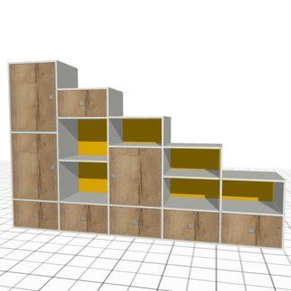 Meuble de rangement sous escalier sur-mesure chêne jaune blanc haut large