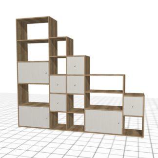 Bibliothèque sous escalier personnalisé chêne largeur 2 mètres tiroirs portes