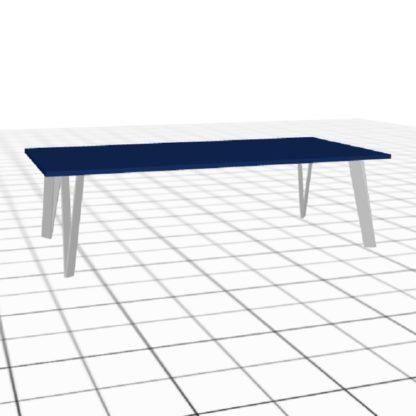 Table de salon sur-mesure blanc bleu longue