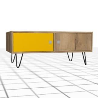 Meuble bas sur-mesure bois et jaune 2 portes 1 mètre