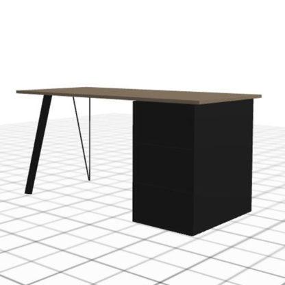 Long bureau sur-mesure avec caisson gauche