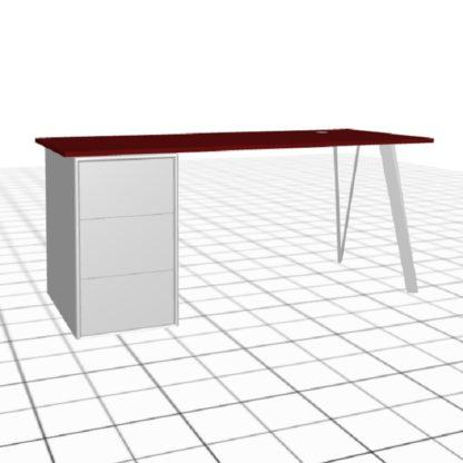 Large bureau sur-mesure avec caisson et passe câble