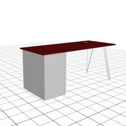 Large bureau adapté avec caisson et passe câble