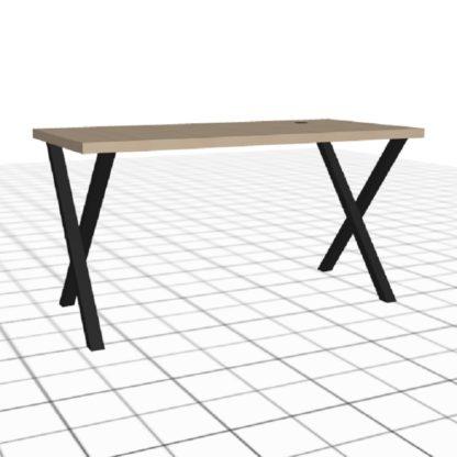 Table de bureau sur-mesure avec passe câble droit