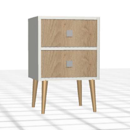 Chevet sur-mesure 2 tiroirs chêne blanc