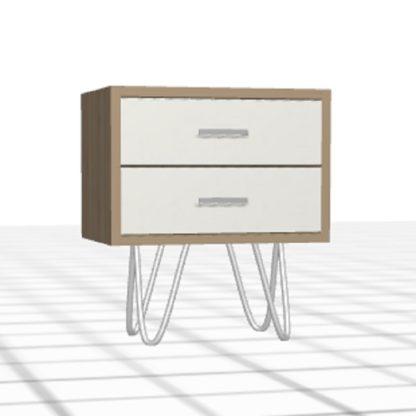Table de chevet personnalisée 2 tiroirs bois blanc