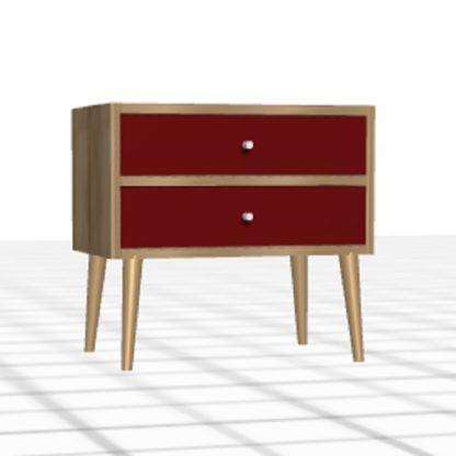 Chevet sur-mesure rouge chêne tiroirs pieds hauts