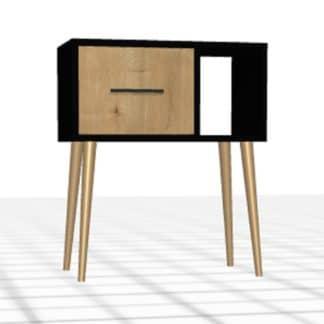 Table de chevet sur-mesure noir chêne 1 tiroir niche