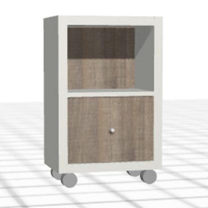 Chevet sur-mesure blanc chêne niche tiroir roulettes