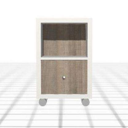 Chevet adapté blanc chêne niche tiroir roulettes