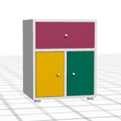 Chevet personnalisé coloré blanc 2 portes tiroir enfant