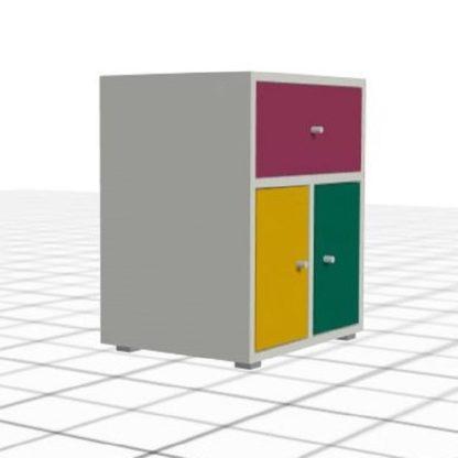 Chevet personnalisé coloré blanc 2 portes tiroir
