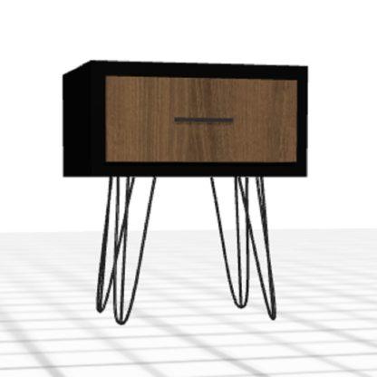 Table de nuit personnalisée tiroir pieds hauts chêne noir