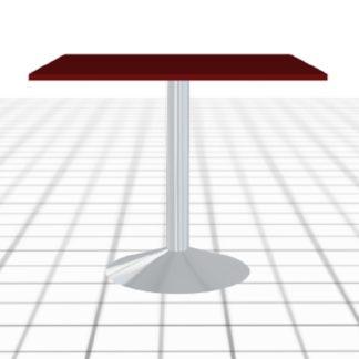 Table snack sur-mesure rouge avec pied acier rond