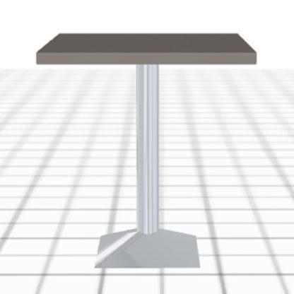 Table snack sur-mesure grise avec pied acier carré