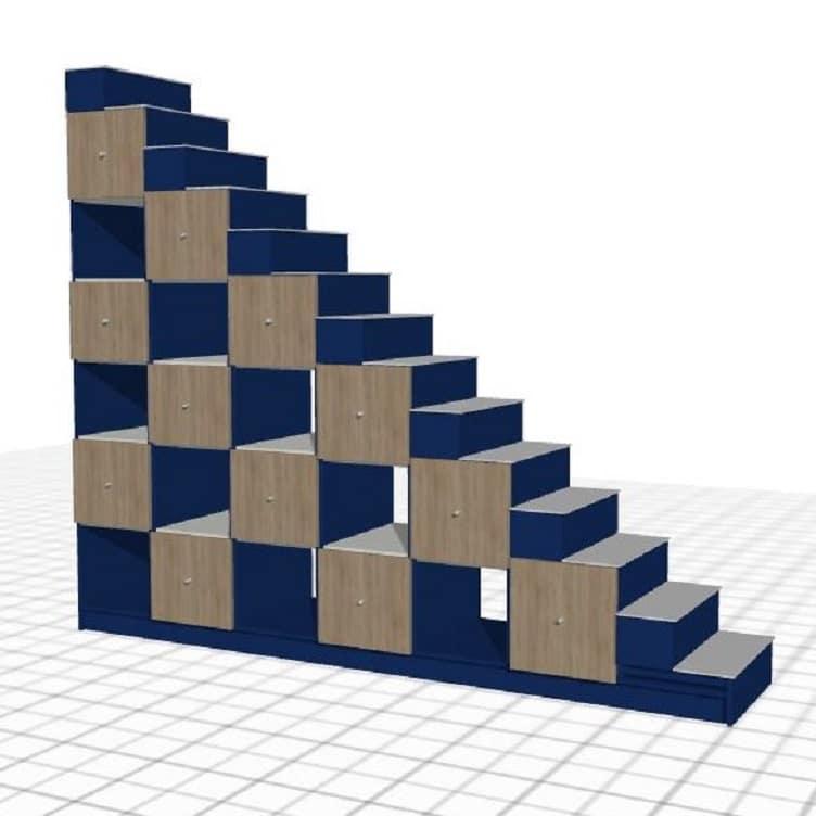escalier sur-mesure bleu blanc tiroirs