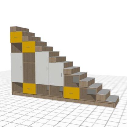 escalier sur-mesure jaune blanc