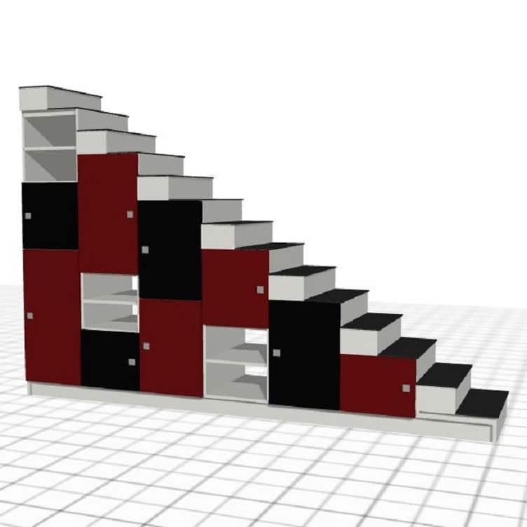 escalier-sur-mesure-noir-rouge