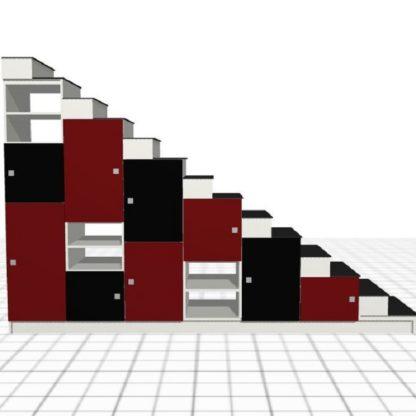 escalier sur-mesure noir rouge