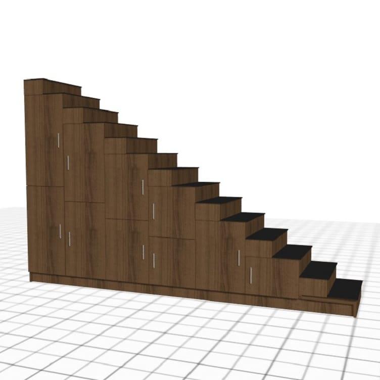 meuble escalier bois fonce portes sur-mesure