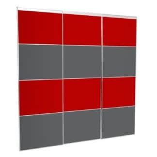 Portes de placard coulissantes sur-mesure rouge gris laqué
