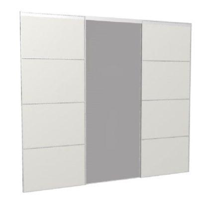 Portes coulissantes sur-mesure miroir blanc large