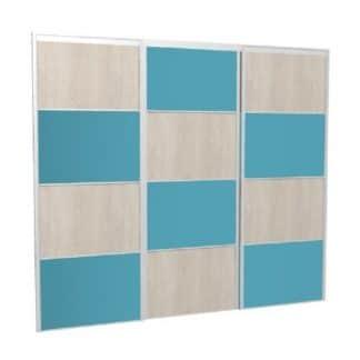 Portes coulissantes personnalisées damier laqué bleu chêne